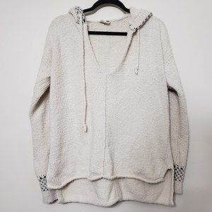 Anthropologie Heavy Knit Hooded V Neck Sweater, M
